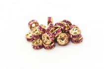 Gold Plated Brass / Rose Swarovski Crystal Rhinestone Rondelle Spacer Bead
