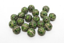 Enamel Lime Green Abstract Beads - Round