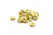 Clear Crystal Cubic Zirconia Rondelle Spacer Bead - Gold Plate Over Brass