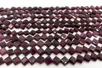 Garnet (Dyed) Beveled Flat Diamond Gemstone Beads