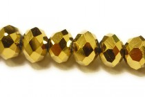 Gold Metallic Chinese Crystal Rondelle Glass Beads - Opaque