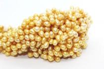 Top Drilled Potato Freshwater Pearls - Mustard Yellow