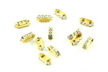 Gold/Crystal Swarovski Crystal Two Hole Rectangle Rhinestone Spacer Bar Bead