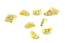 Gold  / Crystal Swarovski Crystal Half Circle Rhinestone 2 Hole Spacer Bar Bead