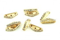 Swarovski Crystal / Gold Plated Brass Triangle Rhinestone Three Hole Spacer Beads
