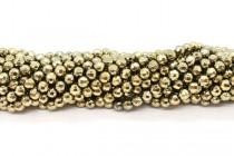 Gold Tone Hematine (Imitation Hematite) Faceted Round Beads