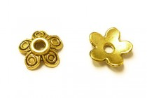 Antique Gold Plated Bead Caps - Flower