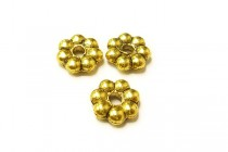 Gold Plate Over Pewter Daisy Spacer Bead