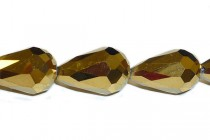 Gold Metallic Chinese Crystal Teardrop Glass Beads - Opaque