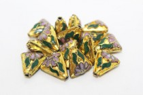 Gold Cloisonné Triangle Beads with Pink Flowers CL-184