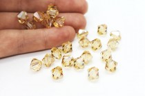Crystal Golden Shadow Swarovski Crystal Bicone Beads 5301/5328