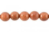 Goldstone Brown (Man Made) Faceted Disco Cut Round Gemstone Beads