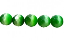Dark Green Fiber Optic Glass (Cats Eye) Faceted Round Beads
