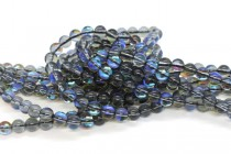 Grey AB Fused Glass Smooth Round Beads