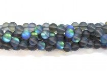 Grey Matte AB Fused Glass Smooth Round Beads