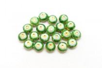 Green & White Enamel Flower Shaped Beads - Puffed Coin EN-05