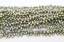 Top-Drilled Teardrop Freshwater Pearls - Sage Green - A Grade