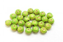Lime Green & Gold Enamel Flower Shaped Beads - Puffed Coin EN-03