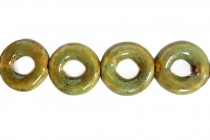 Lime Green Glazed Porcelain Beads - Donut Bead Frame