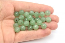 Green Aventurine (Natural) Smooth Round Gemstone Beads - Large Hole