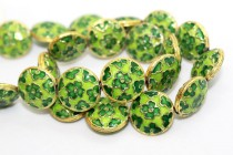 Enamel Lime Green Foral / Clover Beads - Coin Shape