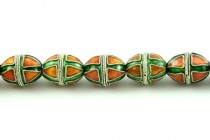 Enamel Green & Orange Beads - Egg shape
