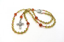 Khaki & Padparadscha Swarovski Crystal Rosary Making Kit with TierraCast Components
