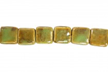 Lime Green Glazed Porcelain Beads - Flat Square