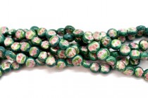 Green Floral Coin Shaped Porcelain Beads with Gold Accents