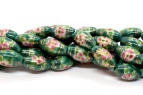 Green Floral Rice/Oval Porcelain Beads with Gold Accents