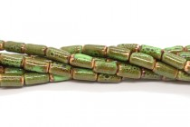 Green & Brown Glazed Porcelain Tube Beads