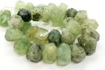 Prehnite ( Natural ) A grade, faceted Nugget Gemstone Beads, 19x12mm