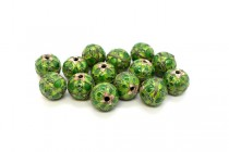 Green Cloisonne Large Round Beads with Teardrop Design CL-114