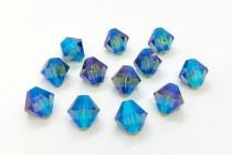 Green Turmaline AB2x Swarovski Crystal Bicone Beads 5301 - Factory Pack