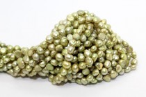 Irregular Potato Freshwater Pearls, Green, A Grade