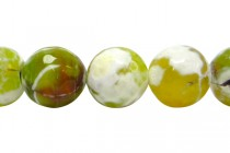 Agate (Dyed ) Faceted Disco Ball Cut Round Gemstone Beads - Green,Lime / White