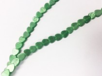 Green Fiber Optic (Cats Eye) Glass Flat Heart Beads