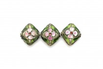 Green & Pink Floral Cloisonne Diamond Shaped Beads CL-201