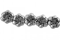 Gunmetal Plate over Pewter Base Metal bead - Flower