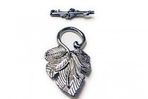 Gunmetal Over Pewter Toggle Clasp - Leaf
