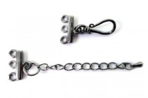 Gunmetal Plate Over Brass Three Strand Bar End w/ Clasp, Extender Chain