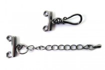 Gunmetal Plate Over Brass Two-Strand End w/ Clasp