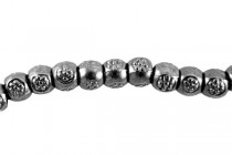 Gunmetal Plate over Pewter Barrel Spacer Bead - Daisy