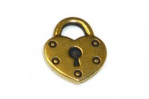 Antique Gold Plated Heart Lock Charm - TierraCast®