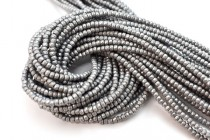 Matte Grey Hematine (Imitation Hematite) Faceted Rondelle Gemstone Beads