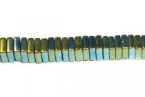 Hematine (Imitation Hematite) Iridescent Green Coated Square Heishi Beads