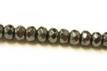 Hematine (Imitation Hematite) Faceted Rondelle Gemstone Beads