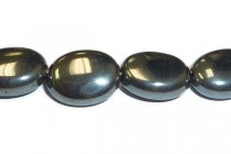 Hematine (Imitation Hematite) Flat Oval Gemstone Beads