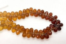 Hessonite Garnet (Natural) A Grade Faceted Top Drilled Teardrop Gemstone Beads