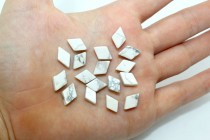 Howlite (Natural) Flat Diamond Gemstone Beads with Sharp or Rounded Edges